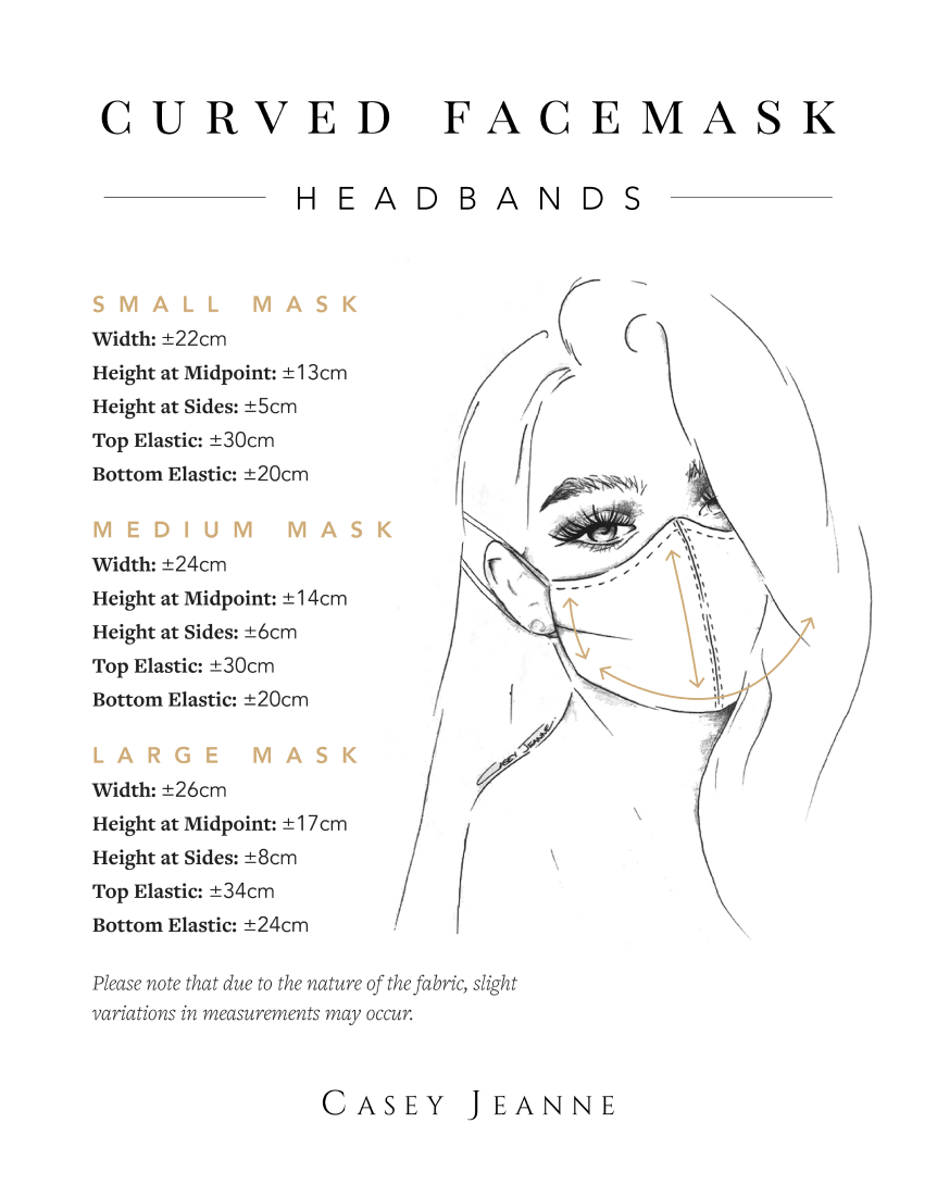 Casey Jeanne Masks Measurement Guide - Headbands 1